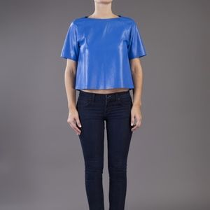 Tibi women royal blue real leather top/6